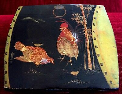 Japanese Vintage Lacquer Box, Quality Hand Lacquer Painting, Chickens , Signed