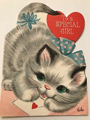 Cat Kitty Kitten Valentines Day Greetings Cards Vintage 1 Hallmark