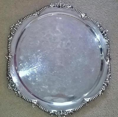 GOOD QUALITY, HEAVY {1.2k}, SILVER PLATED ROUND SERVING TRAY WITH MOULDED EDGING