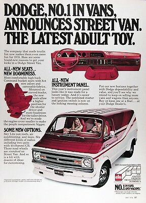 1978 DODGE STREET VAN Original Vintage Advertisement ~ FULL Color Ad