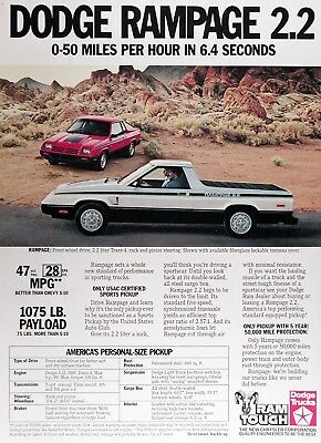 1983 DODGE RAMPAGE PICKUP Genuine Vintage Advertisement ~ 2.2 TRANS 4