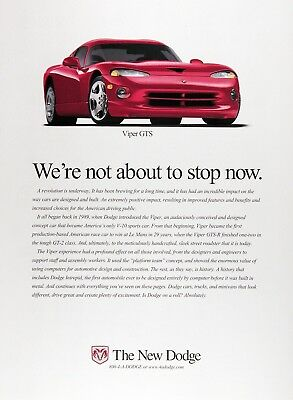 1999 DODGE VIPER GTS Genuine Vintage Advertisement ~ V-10
