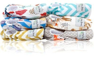 NWT Reusable Woodland Pocket Cloth Diapers One Size Fits All Lot of 6 + Inserts
