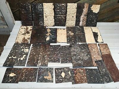 "33pc Craft LOT 11.5""+- by 4""+- Antique Ceiling Tin vintage Reclaimed Salvage Art"