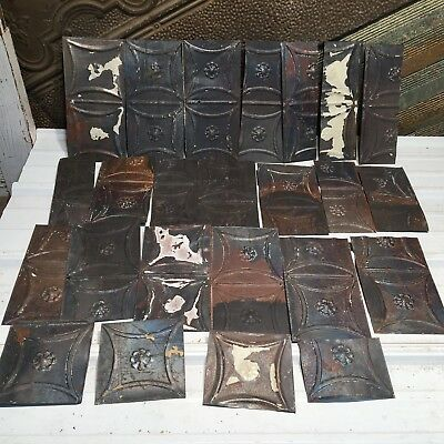 "23pc Craft LOT 10""+- by 5.5""+- Antique Ceiling Tin vintage Reclaimed Salvage Art"