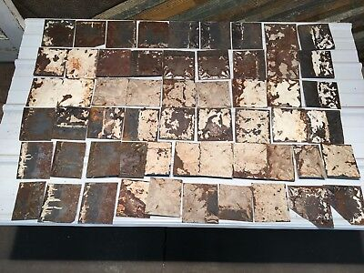 """50+pc Craft LOT 5.5"""" by 5.5""""- Antique Ceiling Tin vintage Reclaimed Salvage Art"""