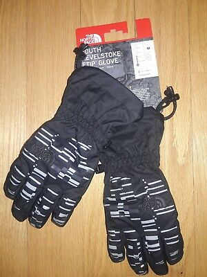 """NWT M Kids Youth North Face Etip """"Revelstoke"""" Insulated Waterproof Gloves Black"""