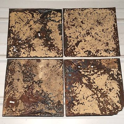 "4pc Lot of 11.5"" x 11.5"" Torch Antique Ceiling Tin Vintage Reclaimed Salvage Art"