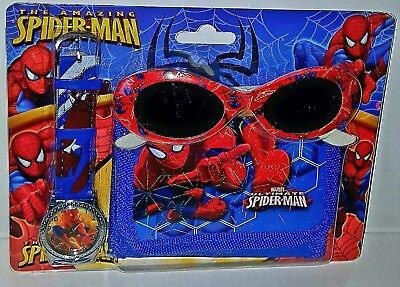 Boys Kids Spiderman Watch and Wallet Set With Sunglasses Red Blue New