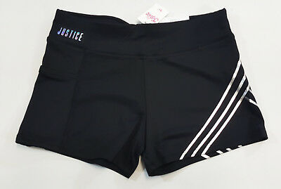 NWT Justice Kid Girls Size 10 12 or 14 Black Compression Shorts Gymnastics Dance