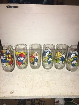 SMURF Glasses Lot of 6 1982 and 1983