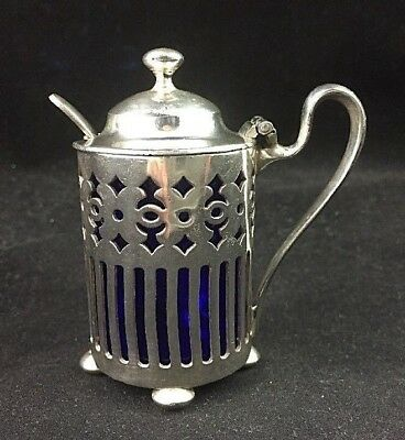 "Pairpoint Silverplate Ornate Lidded 2 5/8"" Mustard Pot w/ Cobalt Glass Liner"