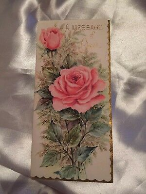 Vintage Antique Greeting Card~Unused Pink Cabbage Rose~ Gorgeous Mid Century