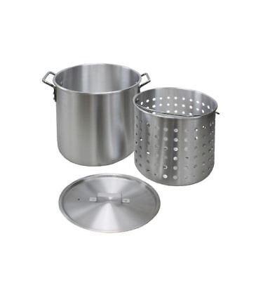 Aluminum Stock Pot 60 Qt. Lid Strainer Basket Round Cookware Outdoor Cooking