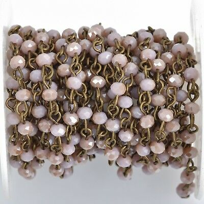 3ft BLUSH PINK Crystal Rondelle Rosary Chain, bronze, 4mm faceted fch0846a