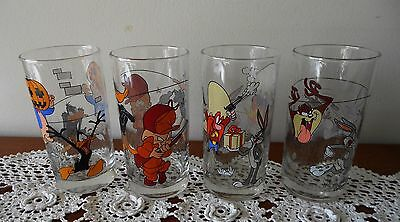 Set Of 4 X 1998 Looney Tunes Ixl Collectables Glasses Nos 3, 4, 7 & 8 Out Of 8