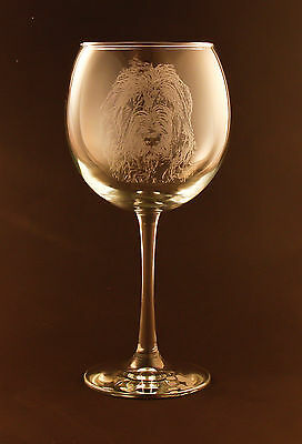New! Etched Irish Wolfhound on Large Elegant Wine Glasses - Set of 2