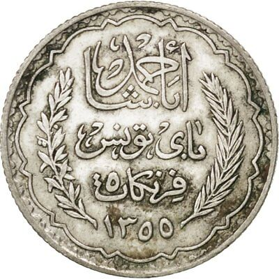 [#75174] TUNISIA, 5 Francs, 1934, Paris, KM #261, AU(55-58), Silver, 4.98