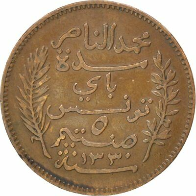 [#81414] TUNISIA, 5 Centimes, 1912, Paris, KM #235, EF(40-45), Bronze, 26, 4.93