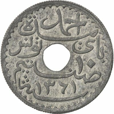 [#86564] TUNISIA, 10 Centimes, 1942, Paris, KM #267, AU(55-58), Zinc, Lecompte