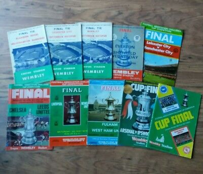 10 x FA Cup Final Programmes (1960-1983) All different and all listed