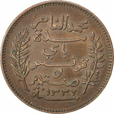 [#81415] TUNISIA, 5 Centimes, 1914, Paris, KM #235, EF(40-45), Bronze, 26, 5.00