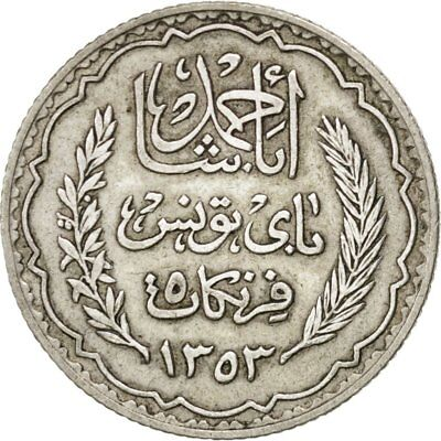 [#75176] TUNISIA, 5 Francs, 1936, Paris, KM #261, AU(55-58), Silver, 4.99