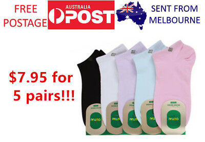 5 xWomen Ankle Socks Premium Cotton Low Cut Comfortable Smooth Toe Free Postage
