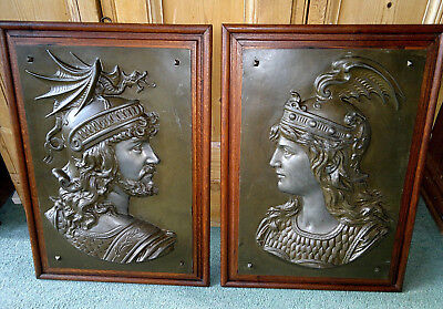 "Pair of Antique Mythological ""Siegfried & Brunhilde"" Bronzed Tin Plaques"