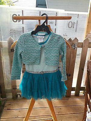 Stunning girls Jona Michelle Green Sparkly Party Dress with Bolero Jacket Age 3