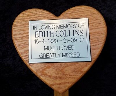 "18"" Heart Oak Wooden Grave Memorial stake Tree Marker pet Free Engraved Plaque"