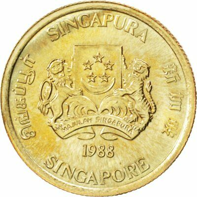 [#89302] SINGAPORE, 5 Cents, 1988, British Royal Mint, KM #50, MS(63)