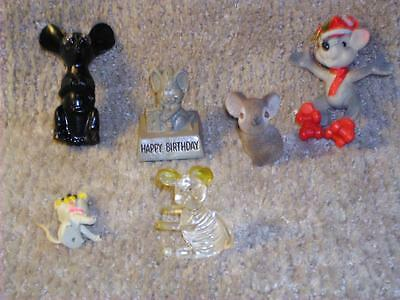 Vintage 5 Small Mouse Mice Figurines Various Material Lucite Coal Plastic Rubber