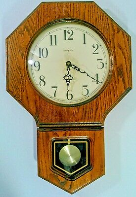 Vintage 1987 Howard Miller Oak  Wall Clock, Model 612-709 Style Westwood