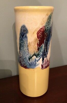 "Large 12"" Cylinder Vase Drip Glaze Yellow, Blue, Red"
