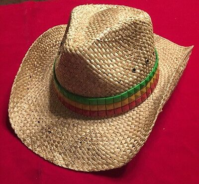 2cc49bed6f2 PETER GRIMM NEIL Style Rastafarian Color Flag DRIFTER COWBOY STRAW HAT New
