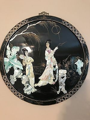 Vintage Round Oriental Mother of Pearl Black Laquer Wall Art Geisha Japanese