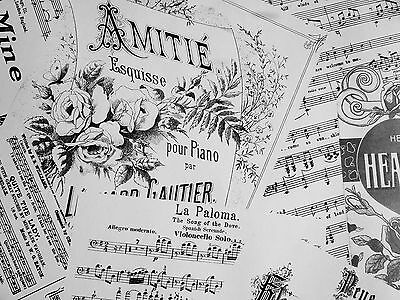 MUSIC WRAPPING PAPER 3 LARGE SHEETS, WHITE 50 x 70 CM VINTAGE STYLE