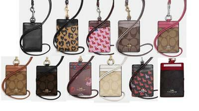 New Coach Lanyard Id Holder Signature Case Card Pass Leather Canvas 63274 Nwt