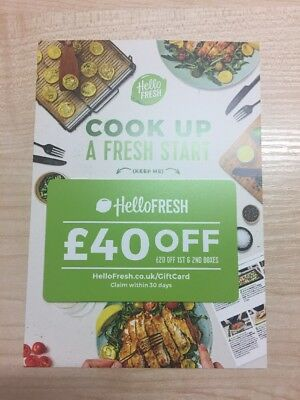 Hello Fresh £40 OFF Food Box Home Cooking Food Gift Voucher Discount Card X 2