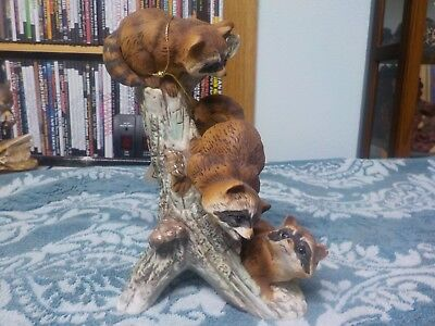 Raccoon 3 on Tree Stump Homco 1978 Masterpiece Porcelain Figurine Lodge Decor