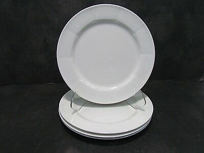 4 Villeroy & Boch Luxembourg GEO Dinner Plates White 10 1/2""