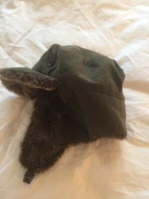 Waxed Trapper Hat Faux Fur Trim Youth/Ladies/Mans Regular size Olive Green