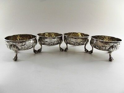 Set Of Four Antique Silver Georgian Salt Cellars London 1766 Ref 251/1