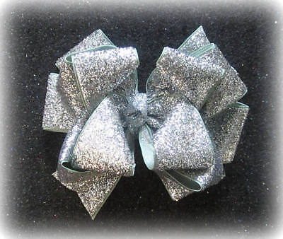 Glitter Hairbows Girls Silver Glitter bows Stacked Boutique Hair Bows Sparkle