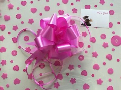 Cellophane gift wrap 5m x 80 cm-Pink Baby Shower Girl 3 FREE PULL BOW & CARDS
