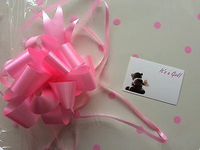 Cellophane gift wrap 5m X 80cm-Pink Spots Baby Shower Girl 3 FREE PULL BOWS/CARD