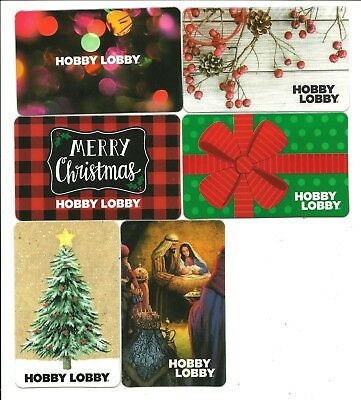 Lot of (6) Hobby Lobby Gift Cards No $ Value Collectible w/ Christmas