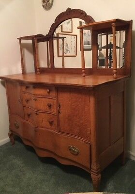 """Oak Carved Buffet circa 1900's in good condition,dimensions - 55""""w x 25""""D x 64""""H"""
