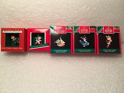 Hallmark Keepsake Miniature Ornaments Kittens In Toyland 1988-1992 All 5 - New!